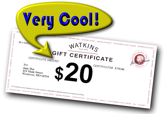 Watkins Home Business Opportunity - Free $20 Watkins Gift Certificate - jr watkins company and business canada usa